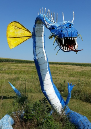 A cool blue dragon missing one yellow fin. Mr. Porter said that the South Dakota wind sheared it off and sent it flying through the meadow.