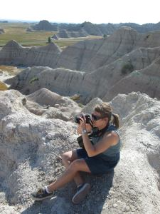 Taking photos at Saddle Pass in the South Dakota Badlands.