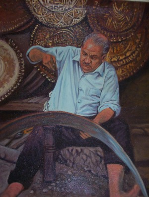 A painting of a craftsman that I purchased at the bazaar.