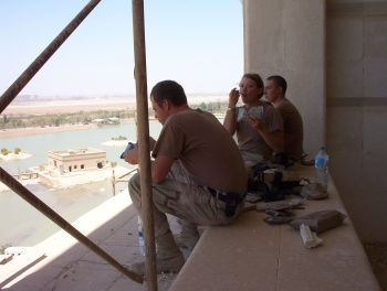 Sharing MREs with a breathtaking view  in one of Saddam's palaces.