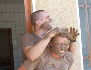 Me and 'Kraker Jack' trying to kill each other with mud.