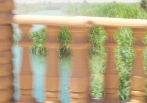 Pillars on a bridge over the Tigris River, as we flew by!