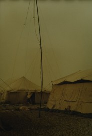 Photo not retouched -- this is the effect caused by a Kuwait sand storm!  My Rebel G camera survived!
