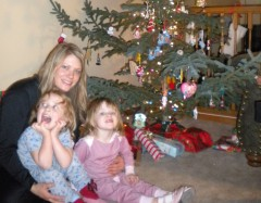 By the Christmas tree in 2009...