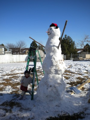 A snow giant made by my husband and daughters on a nice sunny South Dakota day!