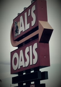 The Al's Oasis sign at Oacoma, with the legendary buffalo mascot.