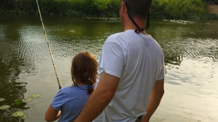 Fishing with Daddy in Texas.