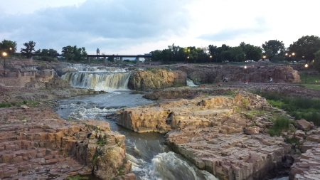The breathtaking view at Falls Park in Sioux Falls, South Dakota.