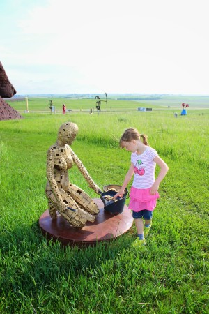 Becoming acquainted with The Ballerina at Porter Sculpture Park.