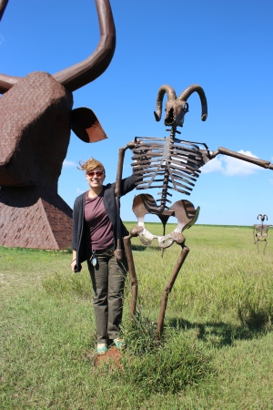 Getting friendly with a skeleton at Porter Sculpture Park.