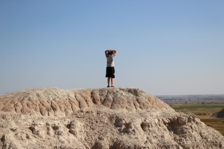 My son, feeling on top of the world.