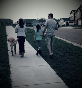 Our family taking Ross for his last walk around the neighborhood.