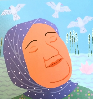 Illustration of Alia Baqer dreaming of peace and a new library, from Jeanette Winter's 'The Librarian of Basra'.